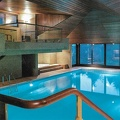 Modern swimming pool of an apartment building at Lugano