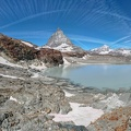 Landscape with mount Matterhorn at Trockener Steg over Zermatt on the Swiss alps