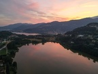 Sunset over lake Muzzano near Lugano on the italian part of Switzerland