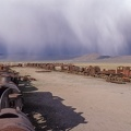 Cementery of trains at Uyuni on Bolivia andes