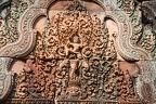 Banteay Srei temple close-up carving located in the area of Angkor