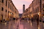 Tourists walking on the famous Placa street at Dubrovnik
