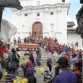 Indian funeral at the church of Santo Tomas at Chichicastenango