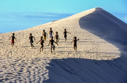 Dune with boys running at Soalara