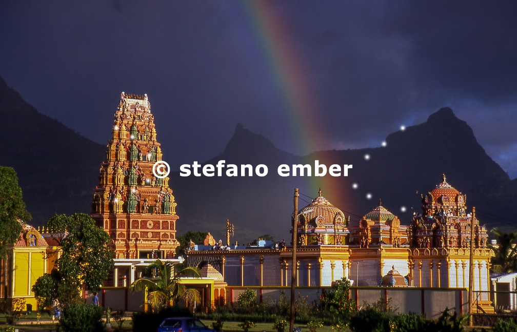 Induist temple with rainbow
