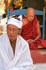 Monks on meditation at the Sule Paya Pagoda in Yangon