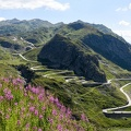 Tremola old road which leads to St. Gotthard pass on the Swiss alps
