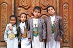 Boys with traditional clothes at Sana